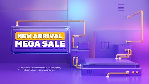 Podio de exhibición de producto púrpura colorido 3d