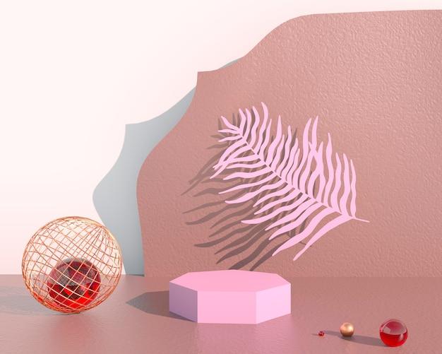 Podio de exhibición de productos decorado con hojas sobre fondo pastel, ilustración 3d