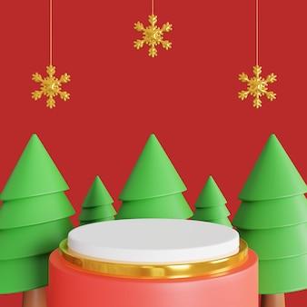 Podio de feliz navidad 3d para producto