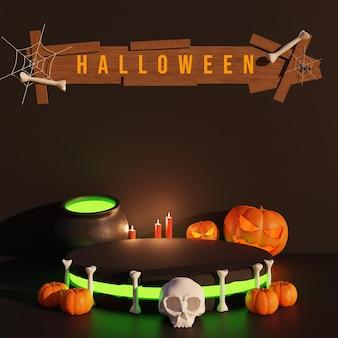 Podio de halloween 3d para la venta de productos con calabaza.