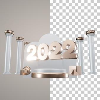 Podio de ilustración 3d año nuevo 2022