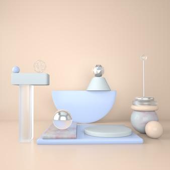 Podio de maquetas para branding fondo claro y pedestal de mármol con formas geométricas