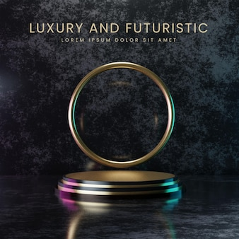 Podio de oro de lujo y futurista