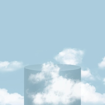 Podio de producto simple 3d psd con nubes sobre fondo azul