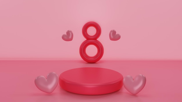 Podio redondo con representación 3d del día de la mujer feliz