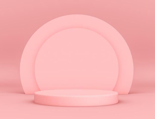 Podio rosa geométrico 3d para la colocación de productos con fondo circular y color editable