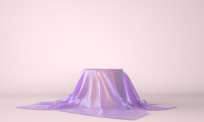 Podio vacío cubierto con tela lila en ilustración 3d