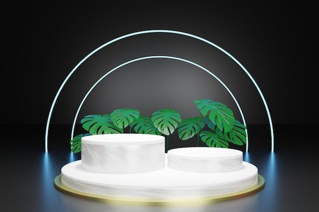Podio vacío de representación 3d con hojas tropicales