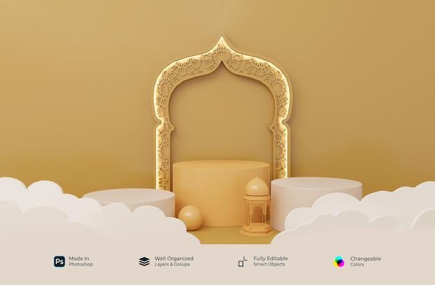 Podium 3d realistische symbolen van arabische islamitische ramadhan kareem en eid mubarak