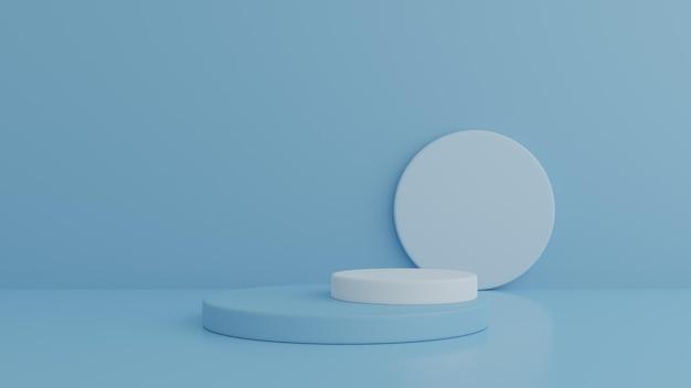 Podium en minimaal blauw podium op de muur