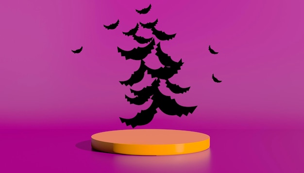 Podium en minimale abstracte achtergrond voor halloween, 3d-rendering geometrische vorm. 3d illustratie.