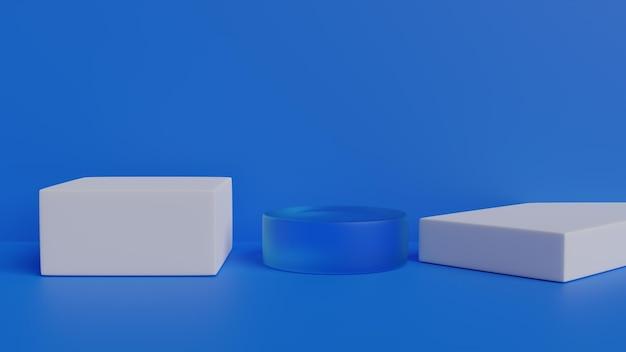 Podium en minimale blauwe 3d muurscène renderen
