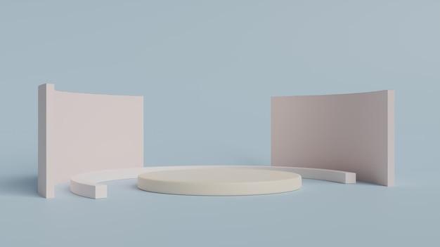 Podium in abstracte blauwe 3d samenstelling geeft terug