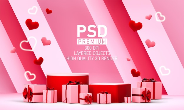 Podium in valentijnsdag met decoraties