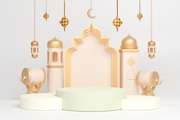 Podium islamitische display-decoratie met bedug drum halve maan lantaarn en ketupat