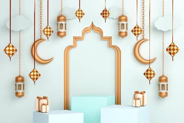 Podium islamitische display-decoratie met halve maan ketupat en geschenkdoos