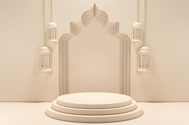 Podium islamitische displaydecoratie met arabische lantaarn