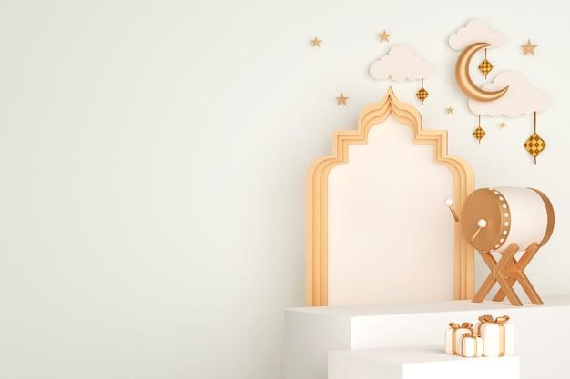 Podium islamitische displaydecoratie met bedug drum crescent ketupat en geschenkdoos gift