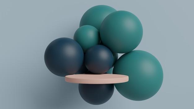 Podium met geometrische vormen in 3d-rendering