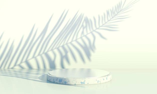 Podium met palmbladeren op pastelachtergrond. concept scene podium showcase voor productpromotie.
