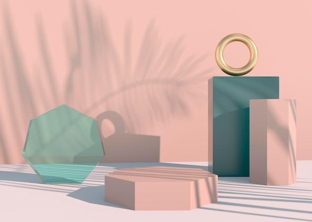 Podium met palmbladeren schaduwen voor cosmetische productpresentatie.