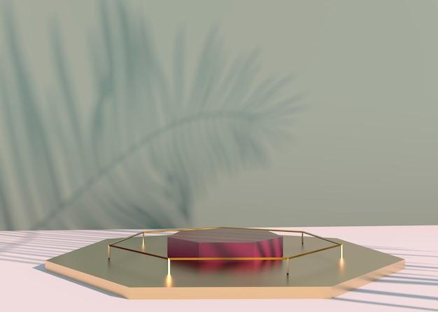 Podium met schaduwen van palmbladeren voor de presentatie van cosmetische producten.