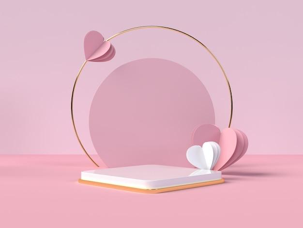 Podium productpresentatie voor valentijnsdag in 3d-rendering