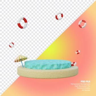 Podium zomer verkoop concept met oceaan strand 3d render