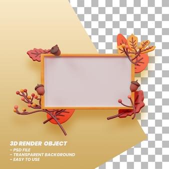 Podiumdisplay met herfstthema en 3d illustratie premium psd