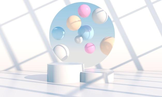 Podiumontwerppresentatie in 3d-weergave Premium Psd