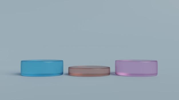 Podiumscène of pijler staan voor minimale pastel achtergrond 3d render
