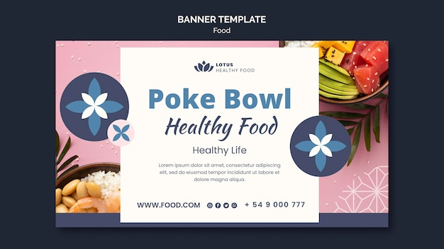 Poke bowl maaltijd banner ontwerpsjabloon
