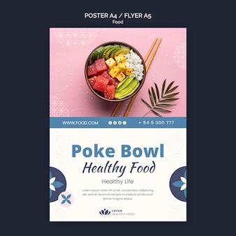 Poke bowl maaltijd poster ontwerpsjabloon