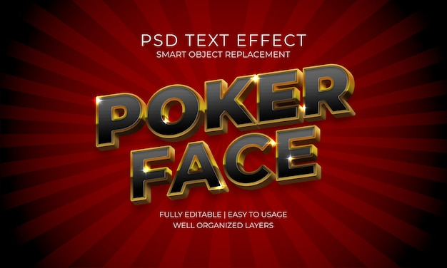 Poker gezichtstekst effect