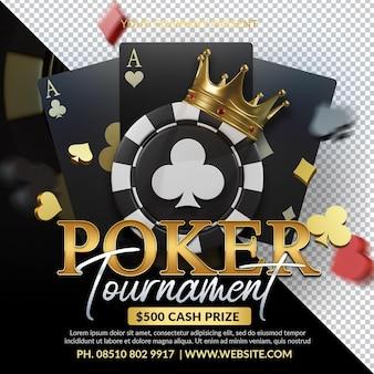 Poker toernooi 3d render afbeelding samenstelling