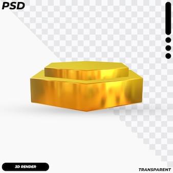Poligon gouden podium met 3d render