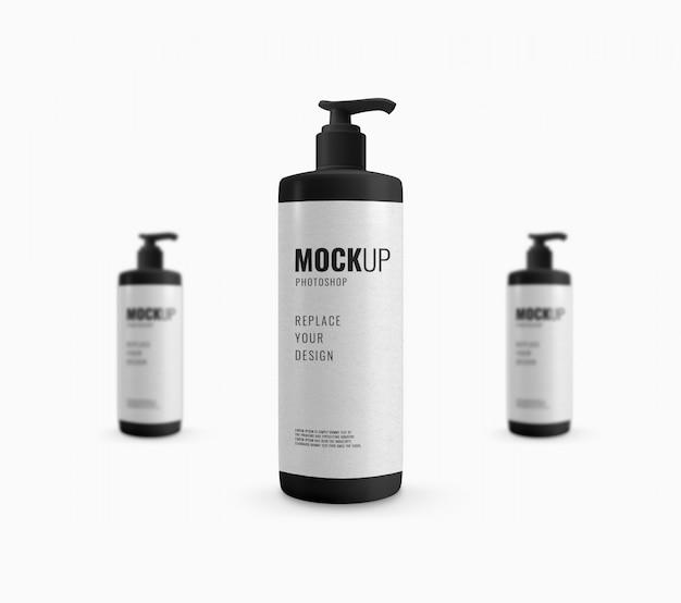 Pompmodel met zwarte fles Premium Psd