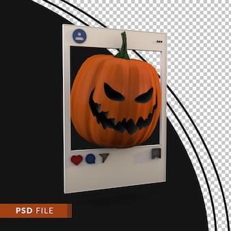 Pompoen en frame social media happy halloween concept. 3d render