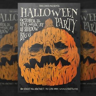 Pompoen hoofd halloween partij flyer-sjabloon