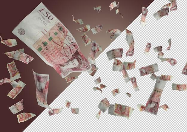 Pond geld regen - honderden 50 pond vallen van de top
