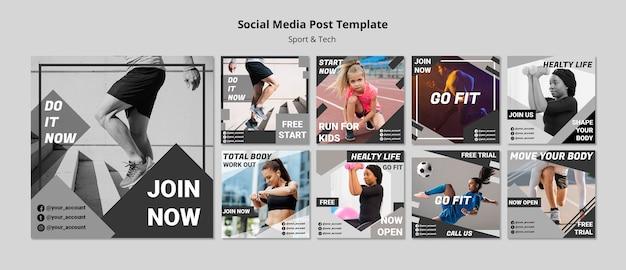 Ponerse en forma plantilla de publicación de medios sociales
