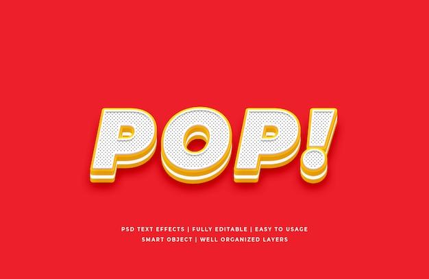 Pop stile di testo 3d