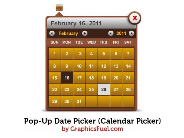 Pop-up di selezione della data del calendario picker psd