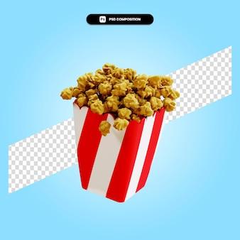 Popcorn 3d render illustratie geïsoleerd