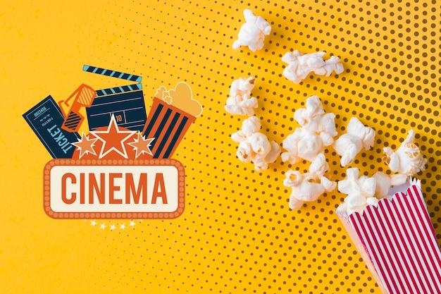 Popcorn e cinema mock-up piatto laici