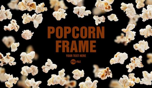 Popcorn op zwarte achtergrond wordt geïsoleerd die
