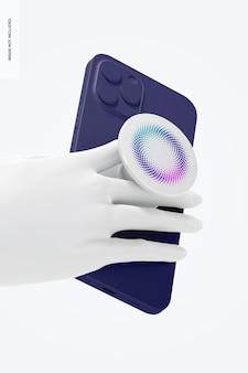 Popsocket-model met telefoon, perspectiefweergave