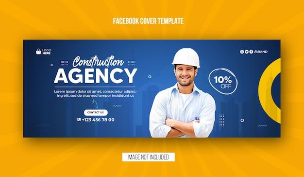 Portada de facebook de la agencia de construcción y diseño de plantilla de banner web