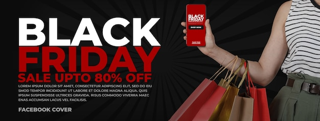 Portada de facebook con maqueta de teléfono inteligente para black friday