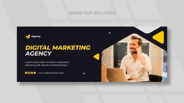 Portada de facebook de marketing digital y plantilla de banner panorámico
